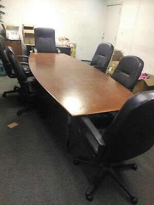 8 Long Wood Conference Table Dim 116.5 X 45.125 X 28 6 Office Chairs