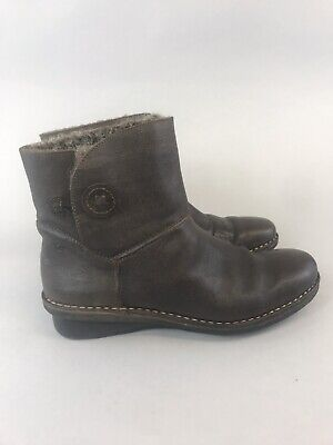 Khrio Size 41 UK7 Brown Leather Ankle Pull On Wedge Heels Fur Lined Boots