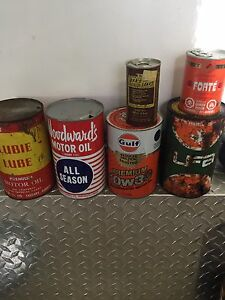 Antique oil cans.