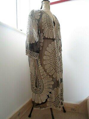 Art Deco Kimono Vintage Style Lace Tulle Black Silver Cameo Rose M L 12 14 Coat