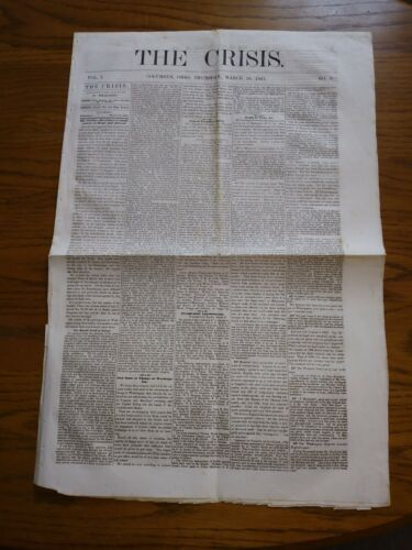 """The Crisis"" 1861 Newspaper with Confederate Constitution Printed - Original"