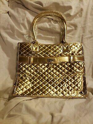 New! Gold key lock tote handbag purse  canvas wi