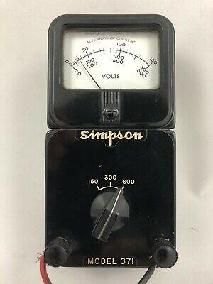 Simpson Ac Voltmeter Model 371 - Vintage