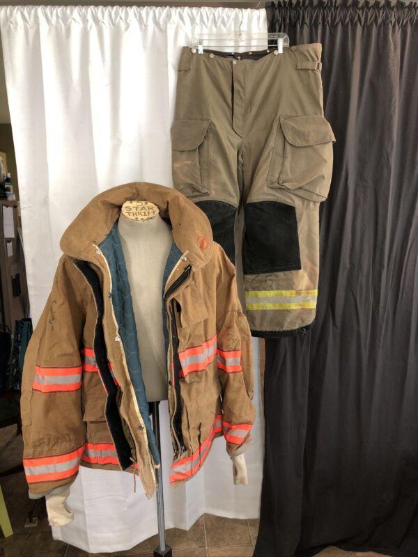 Vintage Fireman Firefighter Turnout Gear Globe Jacket Pants Halloween Costume