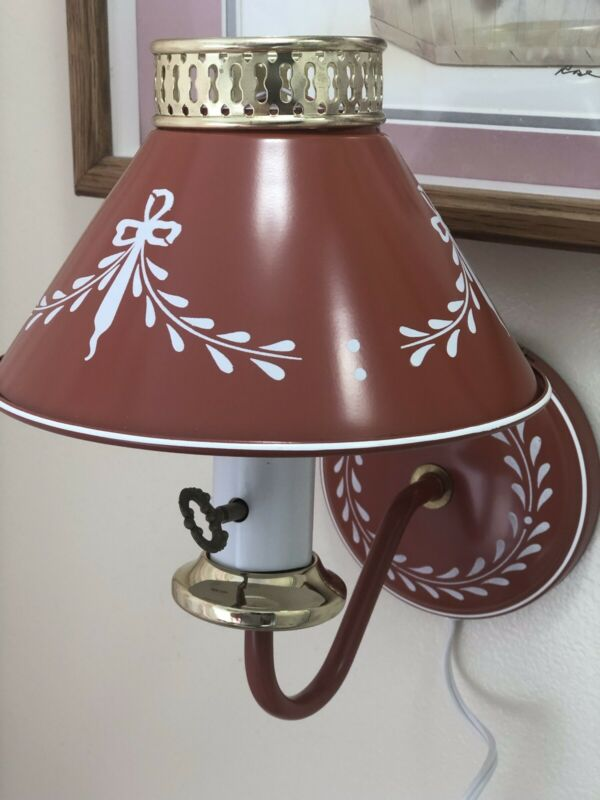 Vintage Mid Century Terracotta Tole Metal Wall Sconce Lamp Pinup Light