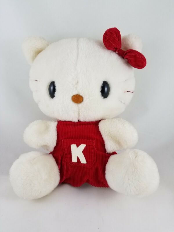 "Vintage 11"" HELLO KITTY in Red Outfit Plush Toy Cat Stuffed Animal - Sanrio 1976"