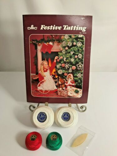 DMC Tatting Lot ~ DMC Floss ~ DMC Festive Tatting Pattern Book ~Tatting Shuttle