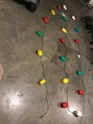 Vintage Noma String Set of 16 Blow Mold Plastic Owl Patio RV Camping Party Light