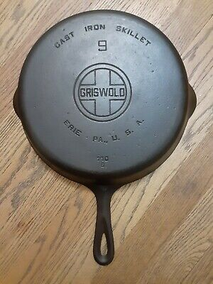 Vintage Griswold #9 Cast Iron Skillet With Large Block Logo - Pattern 710 B