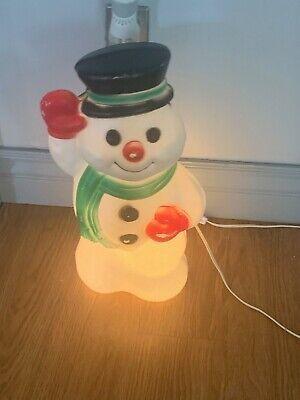 "Vintage Waving Snowman Light Up Christmas Blow Mold Yard Decor 18"" Tabletop"