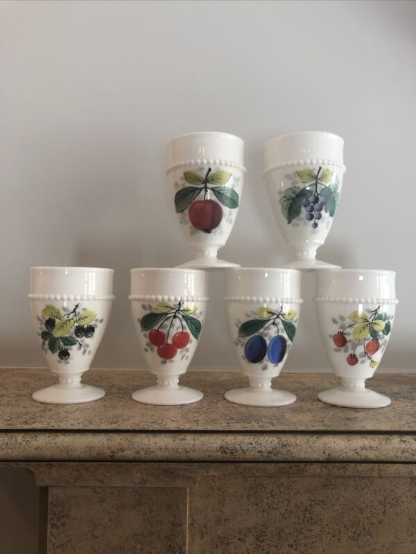 """6 Westmoreland beaded edge milk glass Hand Painted 5"""" Goblets"""