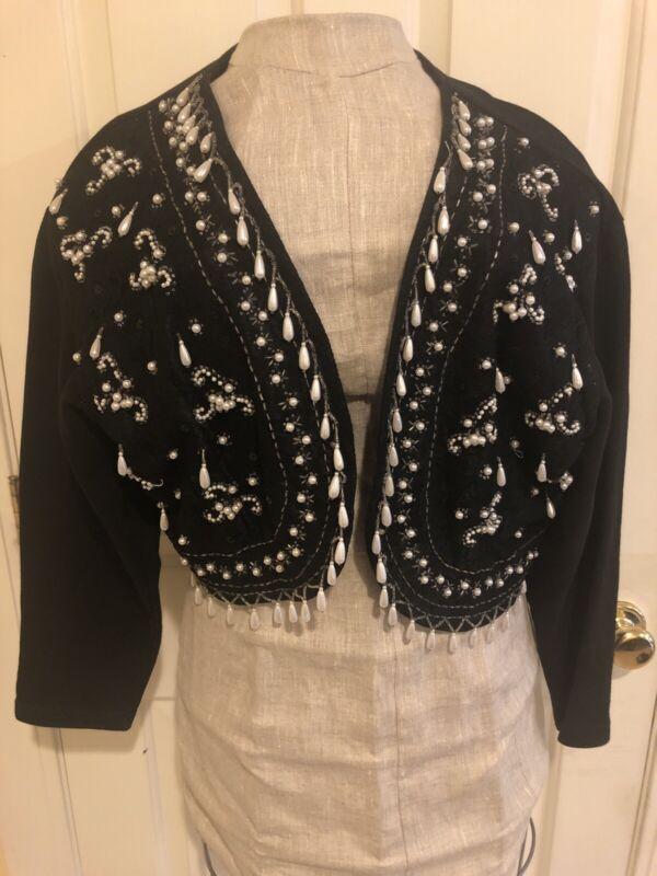 Vintage Beaded Black Bolero Jacket Women's Large