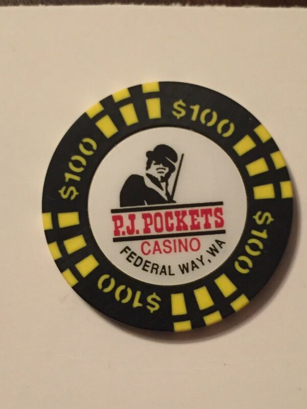 $100 P.J. POCKETS CASINO POKER GAMING CHIP - Federal Way, Washington