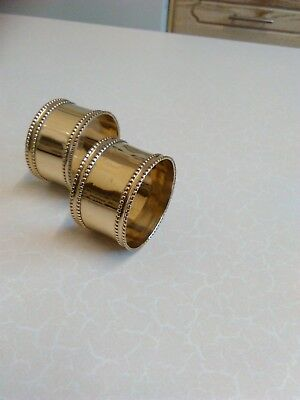 2 x Vintage Brass Napkin Rings with Beaded Rims (817)
