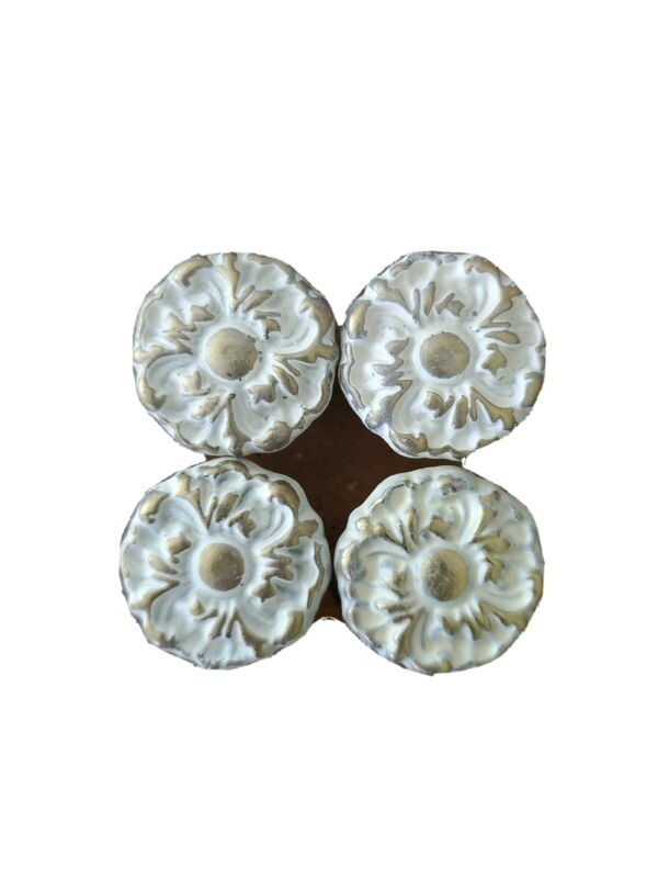 Set of 4 Vintage French Provincial Style Gold Cream Floral Knobs Pulls Handles