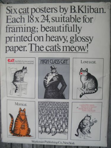 """COMPLETE SET of 6 KLIBAN CAT 18"""" x 24"""" POSTERS from the 1970s-MINT CONDITION!"""