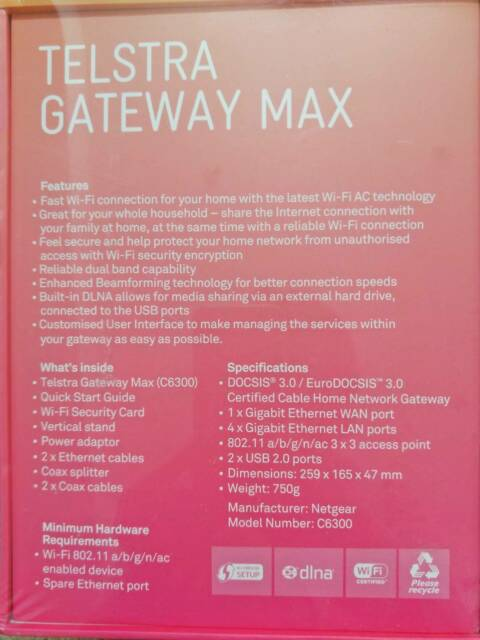 Telstra natgear Gateway Max C6300 high Speed wireless WiFi Modem