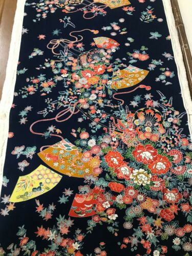 @@ 160 cmx 35 cm  Japanese kimono silk fabric/ smooth weave/ midnight blue L02