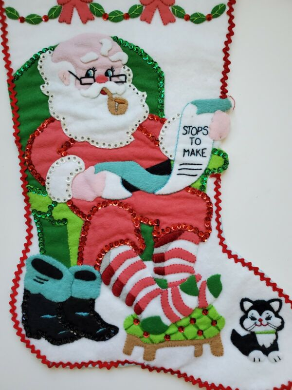 Vtg Christmas Stocking Felt Sequins Chair Santa List Completed Finished Bucilla