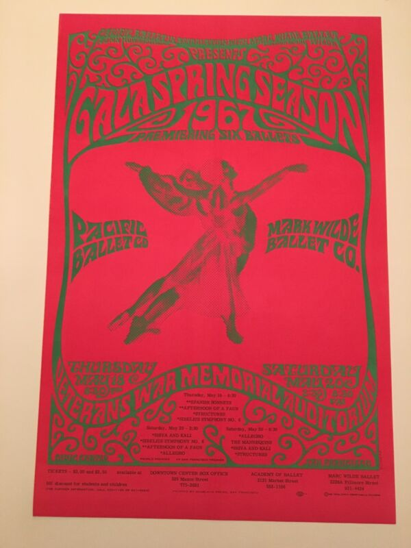 Pacific Ballet Poster Dance 1967 San Francisco Vintage 2 Sided Schepf Graham