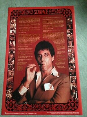 "Scarface - 24""x36"" poster print with movie quotes, tony montana, al pacino"