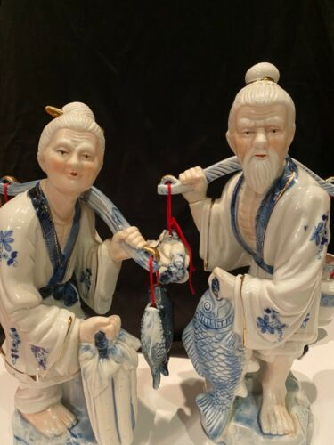 """Gorgeous & Elegant Pair Of Chinese Porcelain Figures Man And A Woman 15"""" By 9"""""""