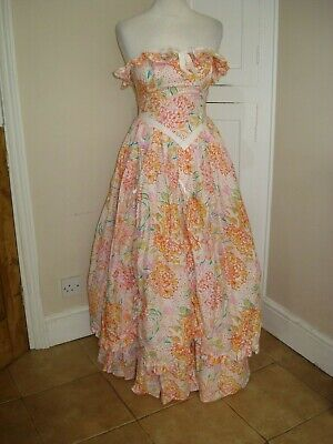 Stunning! Vintage Laura Ashley Bo Peep Cotton Full Skirt Dress ~Fit UK 6/8~
