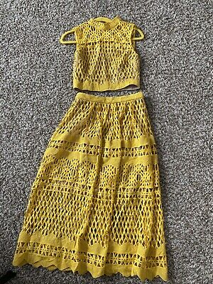 NWOT Ministry Of Style Demure In Mustard Color Size 4 Skirt Crop Top