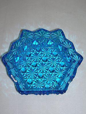 EAPG SIX SIDED BLUE DAISY & BUTTON SAUCE BOWL - CIRCA 1880'S