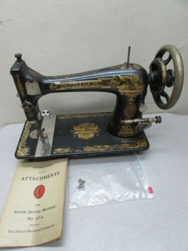 Antique 1904 Singer 27 Sewing Machine Sphinx Manual Treadle Head Runs