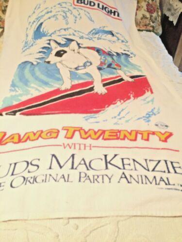 Vtg 80s Spuds Mackenzie Hang Twenty  Bud Light Beach Towel Anheuser Busch