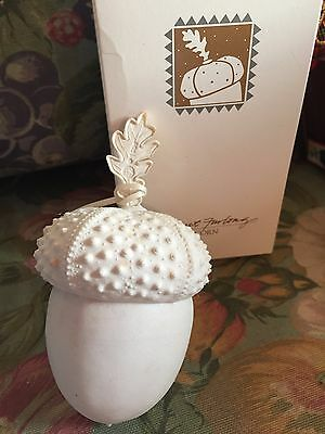 Margaret Furlong Acorn 1996 Christmas  ornament in box Large Bisque White