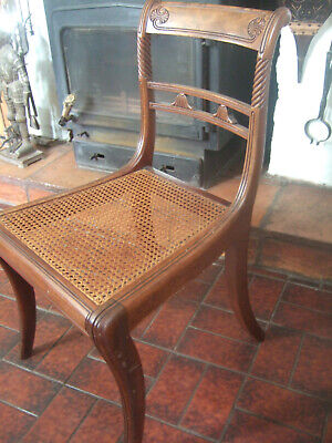 ANTIQUE REGENCY (1811 -1820) MAHOGANY DINING/SIDE CHAIR WITH CANE WORK SEAT