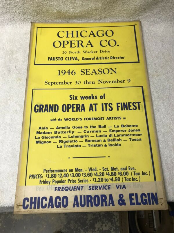Vintage Chicago Opera Poster 1946