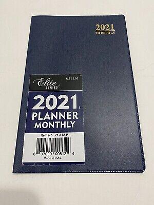 2021 Elite Monthly Planner Calendar Appointment Book Agenda 5x8 Dark Blue