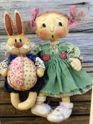 PATTERN Raggedy Ann Doll & Bunny Rabbit Doll w/ Easter Egg by Cat and The Fiddle