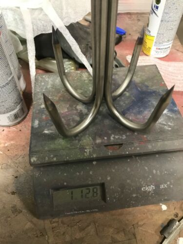"""6 Inch 4 Prong Welded 3/8"""" Stainless Pier or Bridge Gaff With Eye For Rope"""