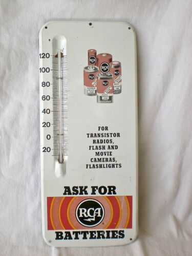 VTG RCA BATTERIES THERMOMETER ADVERTISING SIGN STORE DISPLAY TIN GAS & OIL
