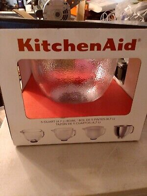 KitchenAid Hammered Glass Bowl K5GBH For 5-Qt Stand Mixer w/Lid NEW