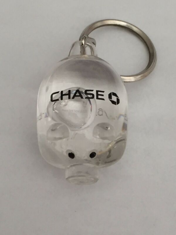 CHASE BANK Clear Pig Keychain ~Very Rare Chase Collectible! ~ New!