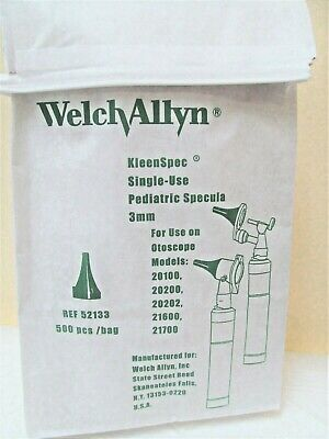 Welch Allyn Kleen Spec 3mm Pediatric Specula 52133 Total Of 500 Pcs. Bag