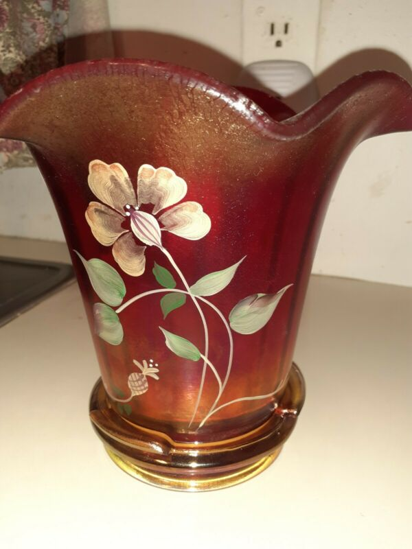 Fenton Red Stretch Glass Hand Painted 100th Anniversary Founders Vase/ Gold Base