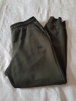 mens puma joggers sweat pants XL khaki green 30 inch leg