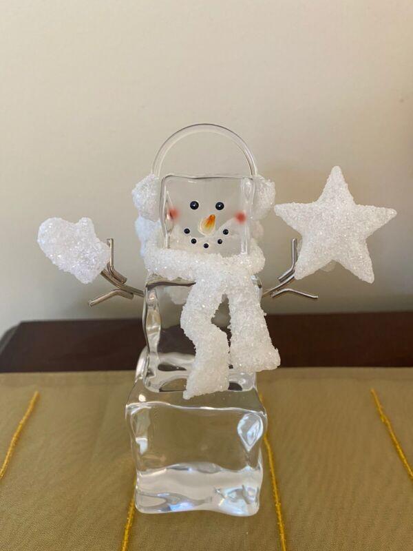 Snowman ANGEL Clear Acrylic Ice Cube Christmas Snowmen Decor Ornaments