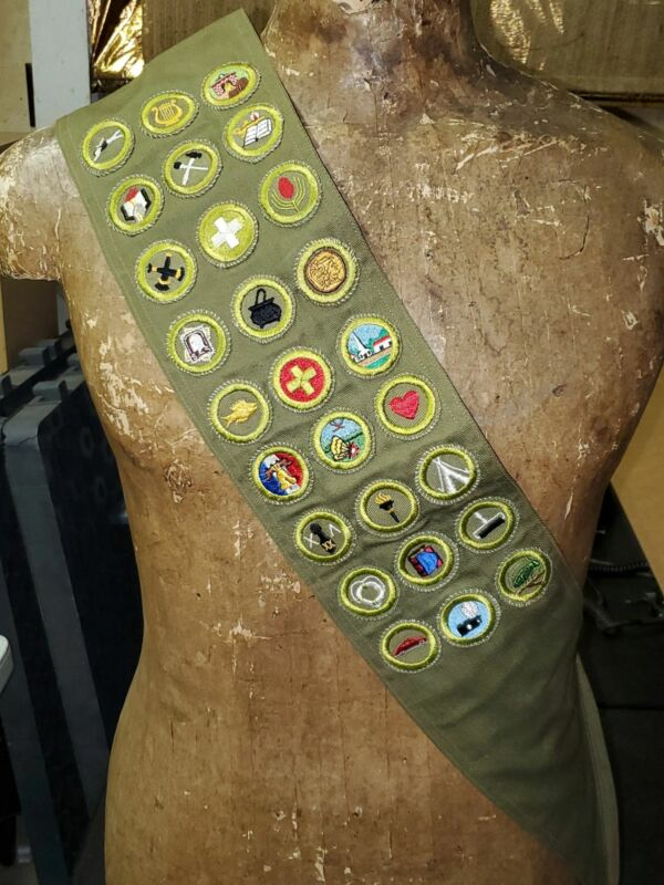 Vintage Boy Scouts Sash with Type E Merit Badges and Rank Patches with Pins