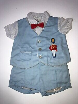 Vintage Cradle Togs 2 Piece Baby Boys Outfit 1970 Vested Shirt, Shorts Bow Tie Baby Cradle Kit