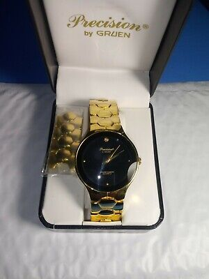 "VINTAGE GRUEN ""PRECISION"" NOS QUARTS MEN'S WATCH WITH BOX EXCELLENT WATCH"