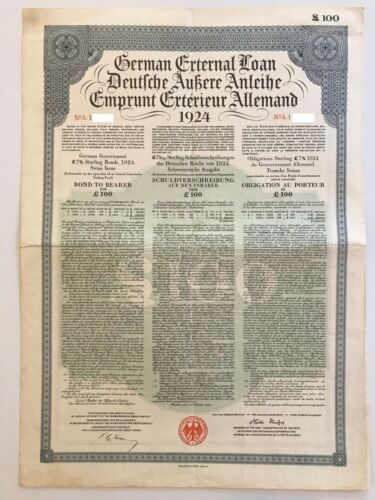 1924 German External Loan 7% Gold Bond – 100 BP – Dawes Loan