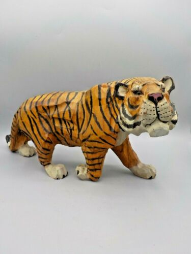 Large Wood Tiger Cat Sculpture Hand Carved & Painted