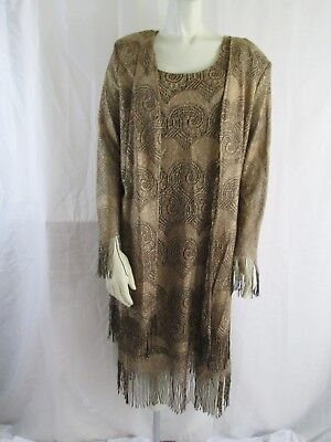 Vintage 70s-80s S. L. Fashions Gold Fringe Sleeveless Dress w/LS Jacket NWT